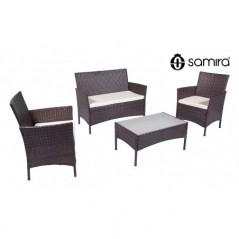 RT-E09ZB - Salotto da giardino in rattan, set di divani da esterno in polyrattan marrone -