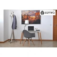 SD01DAPL - Sedia in plastica grigia con gamba, piede in legno, ispirata a Eames Torre Eiffel -