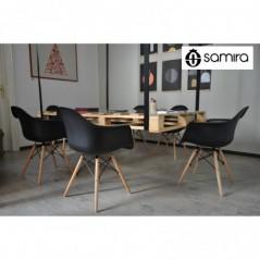 SD10DAPL - Sedia in plastica nera con gamba, piede in legno, ispirata a Eames Torre Eiffel -