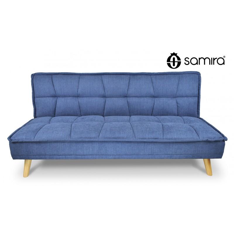 DL-BA07FBC - Divano letto clic clac in tessuto vellutato blu, divano 3 posti mod. Bart -