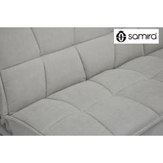 DL-BA03FBC - Divano letto clic clac in tessuto vellutato tortora, divano 3 posti mod. Bart -