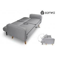 DL-HE01FBC - Divano letto clic clac in tessuto grigio, divano 3 posti mod. Henry -