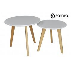 TS08TWPL - Tavolini da salotto mod. Twins con top bianco in mdf e piedi in legno -
