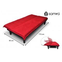 DL-RU02MF - Divano letto clic clac in microfibra rossa, divanetto mod. Russell -