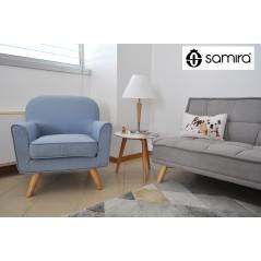 PL-OR18SL - Poltrona in tessuto color azzurro e piedi in legno mod. Orchidea -