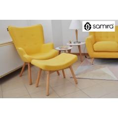 PLSG16PL - Poltrona con pouf poggiapiedi giallo in stile scandinavo con piedi in legno -