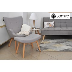 PLSG01PL - Poltrona con pouf poggiapiedi grigio in stile scandinavo con piedi in legno -