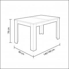 CA 96245 - Tavolo Tavolo allungabile mod.Kendra, melammina, bianco lucido, 140/190x90x78h cm, rettangolare -