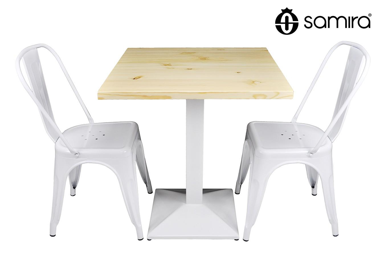 Tavolo quadrato 70x70 stile industriale con top in legno naturale m