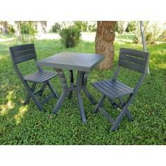 Set DUETTO in resina - tavolino e 2 sedie antracite