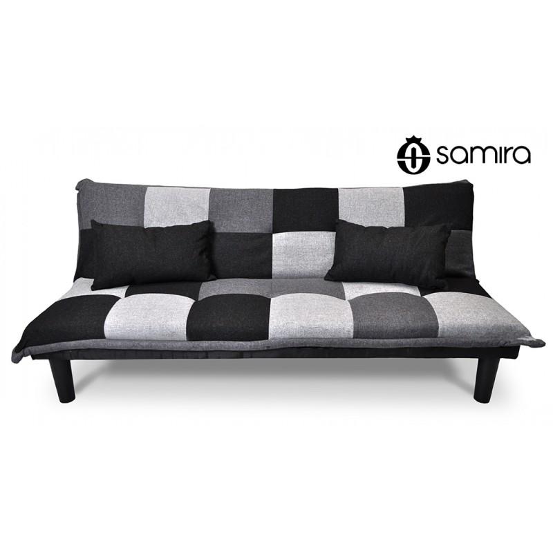 DL-RU1001FB - Divano letto clic clac mod. Russell in tessuto grigio scuro-chiaro-nero -