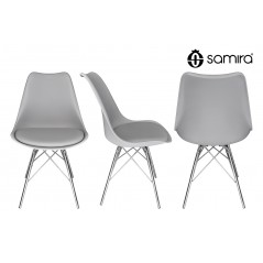 Sedia in pp grigio e piede in metallo cromato mod. Alex - SU01ALPM