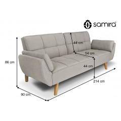 DL-AM03FBC - Divano letto clic clac in tessuto vellutato tortora - divano 3 posti mod. Ambra piedi legno naturale -