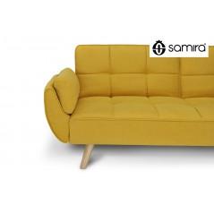 Divano letto clic clac in tessuto vellutato giallo - divano 3 posti mod. Ambra piedi legno naturale