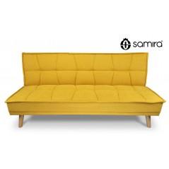 DL-BA16FBC - Divano letto clic clac in tessuto vellutato giallo, divano 3 posti mod. Bart -