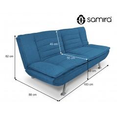 DL-IR07FBC - Divano letto clic clac in tessuto blue marino, divano 3 posti mod. Iris -