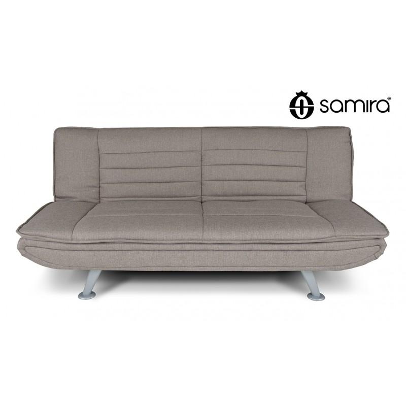 DL-IR03FBC - Divano letto clic clac in tessuto tortora, divano 3 posti mod. Iris -