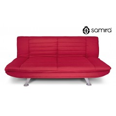 DL-IR02FBC - Divano letto clic clac in tessuto rosso, divano 3 posti mod. Iris -