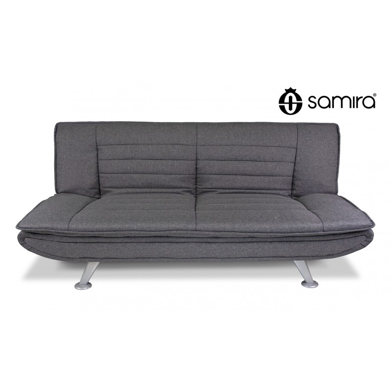 DL-IR01FBC - Divano letto clic clac in tessuto grigio, divano 3 posti mod. Iris -