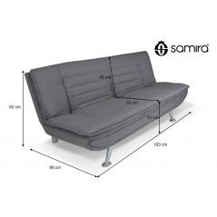 DL-IR01FBC - Divano letto clic clac in tessuto grigio, divano 3 posti mod. Iris - quote