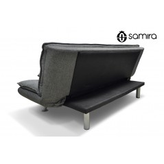 DL-IR01FBC - Divano letto clic clac in tessuto grigio, divano 3 posti mod. Iris - retro